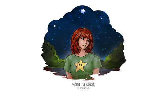 Stylized depiction of Madeline Parker in a key scene at the end of the book